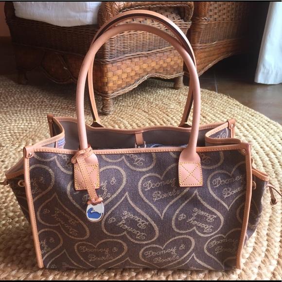 Dooney & Bourke Handbags - Dooney & Bourke Canvas Heart Handbag, Leather Trim